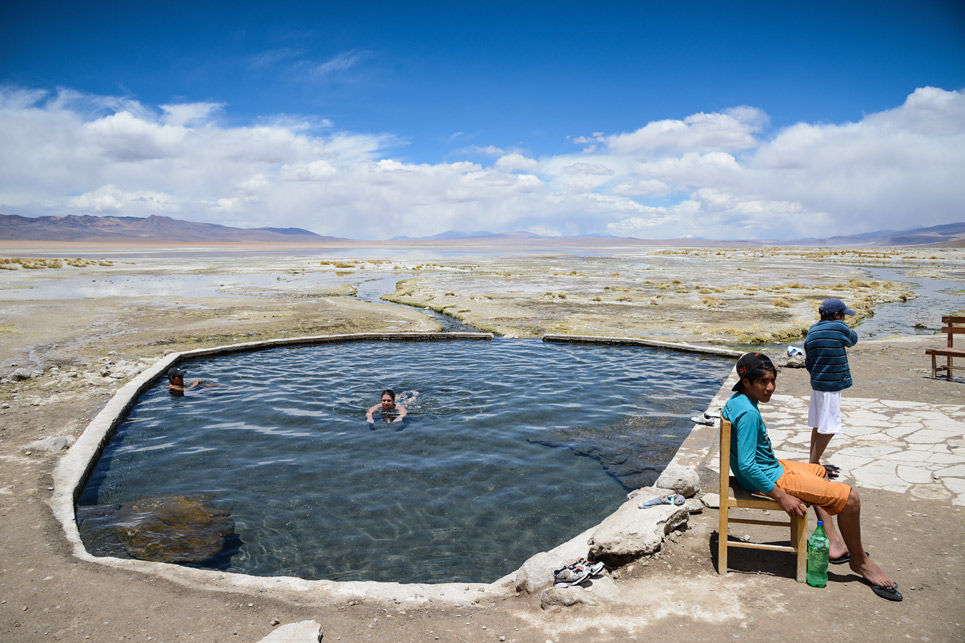 Thermal pool, Bolivia and Laguna Salada